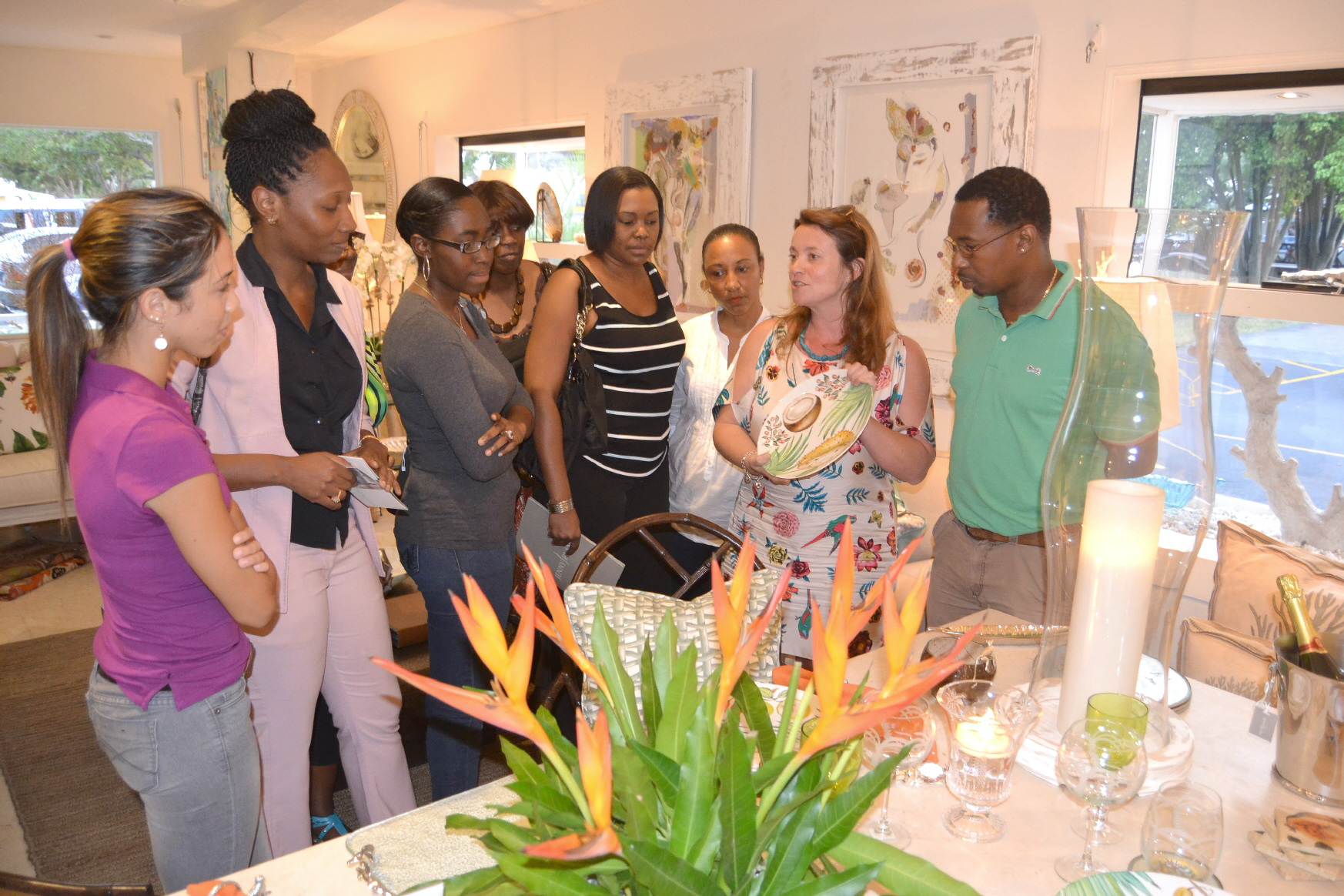Emma Blanc, Caribbean Director, shows exclusive Jenny Blanc platter
