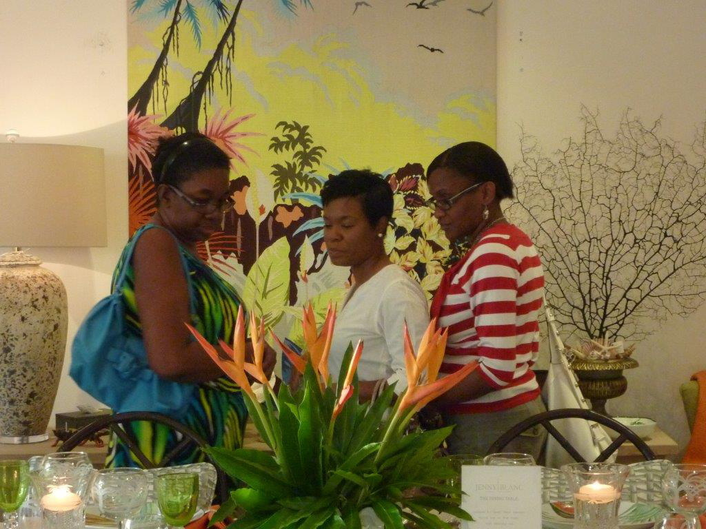 Barbados Community College Students enjoy display at Jenny Blanc's showroom