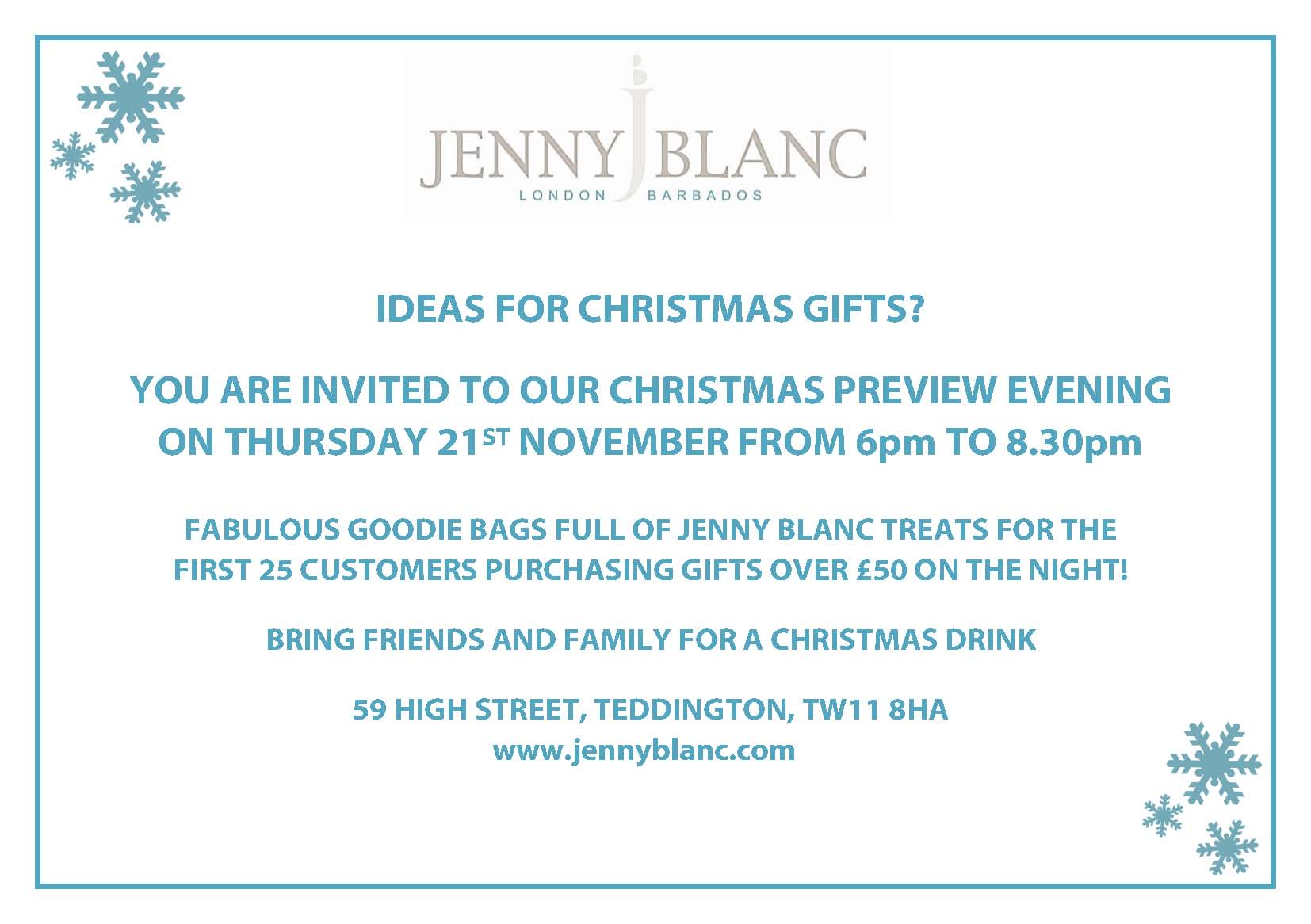 Invitation to our Christmas Preview Evening 1