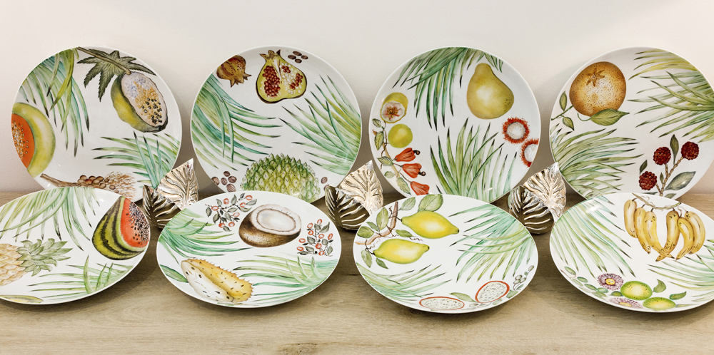 beautiful platters, hand-painted with tropical fruits in a range of designs