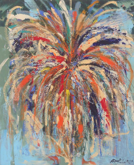 Roots and the Colours of The Mardi Gras, Barbados Oil on Canvas: 54 x 45cms (excluding frame)