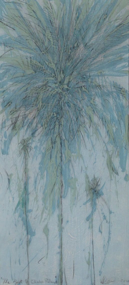 The Port St. Charles Palm Oil on gesso ground:  120 x 60cms (excluding frame) Framed in silver
