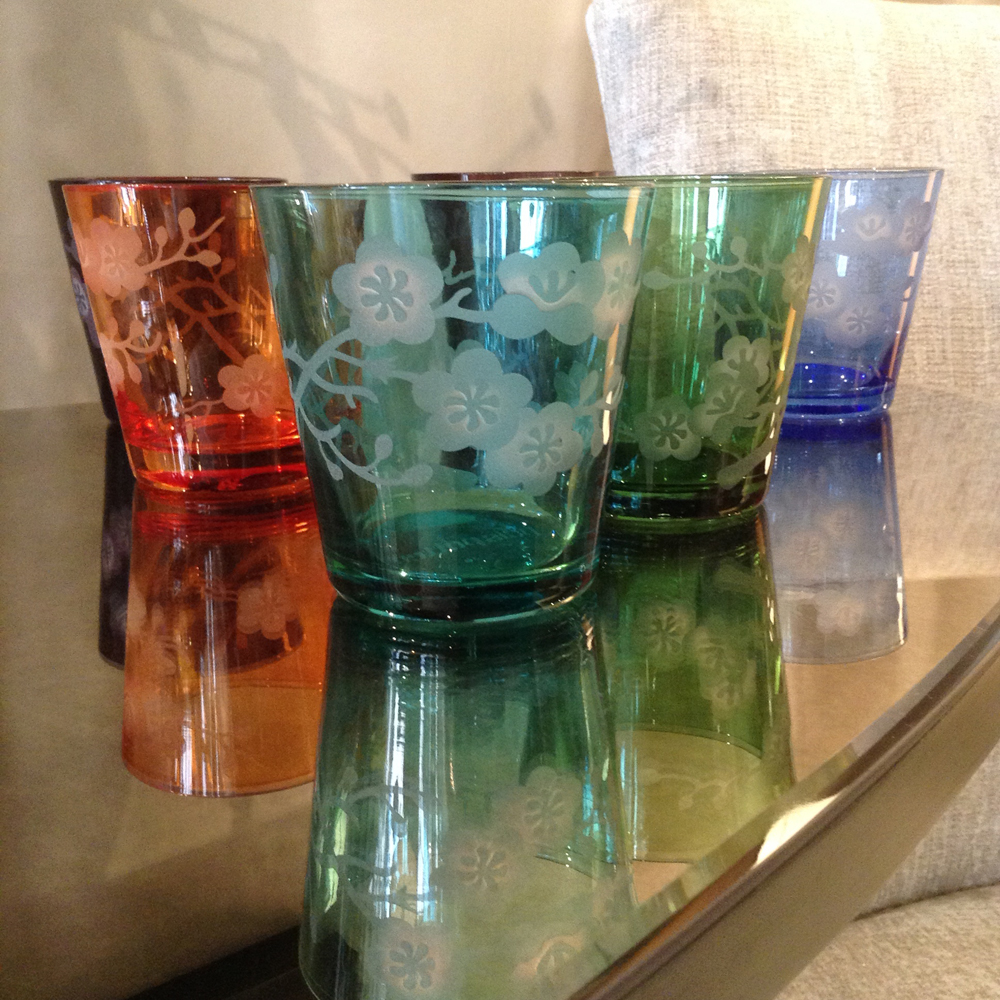 Set of six different coloured cut glass tumblers, £79.95