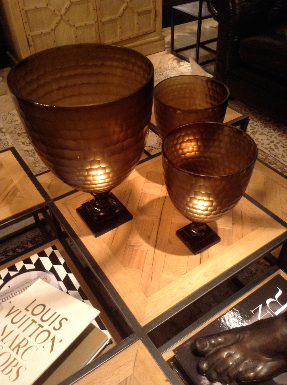 Large glass black votives
