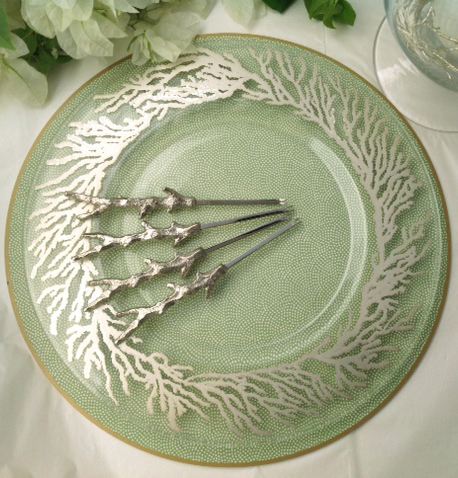 Tropical Table Tops - Coral Designed Green Placemats and Lobster Forks