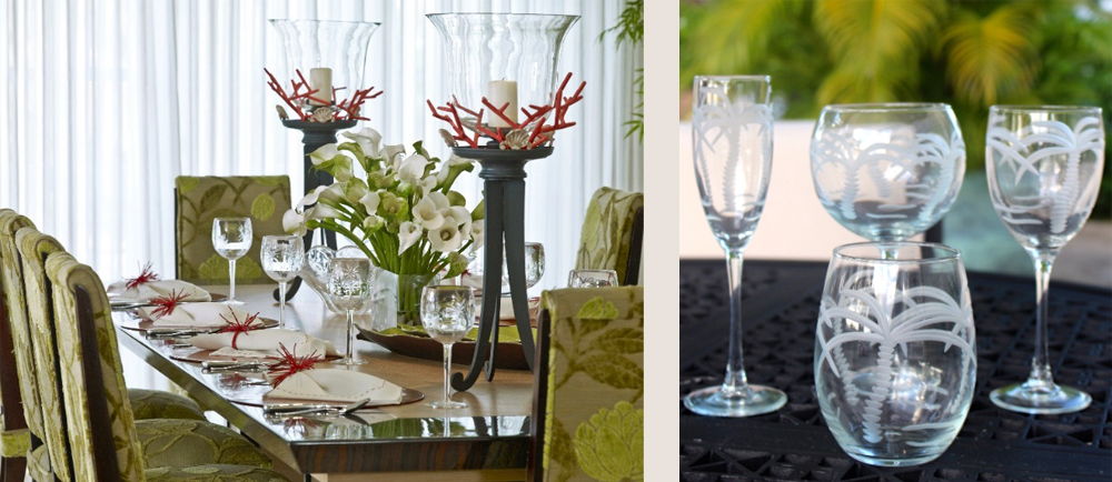 tropical table tops - table top and glassware