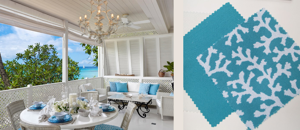 Tropical Table Tops - Terrace Dining in White and Aqua