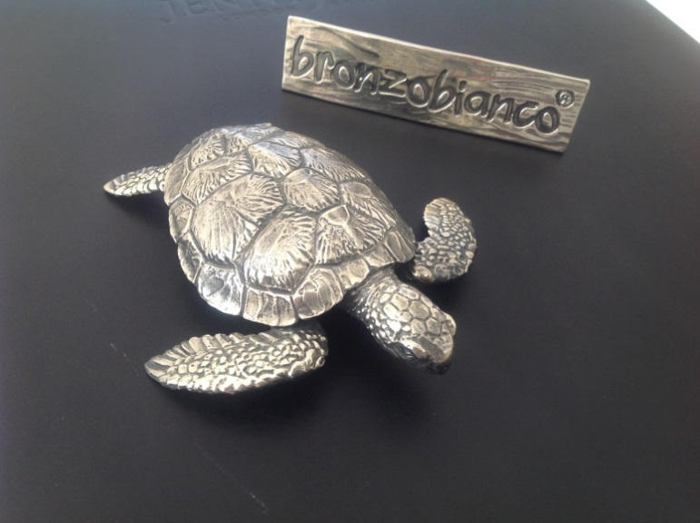 Sea Turtle White Bronze Paperweight