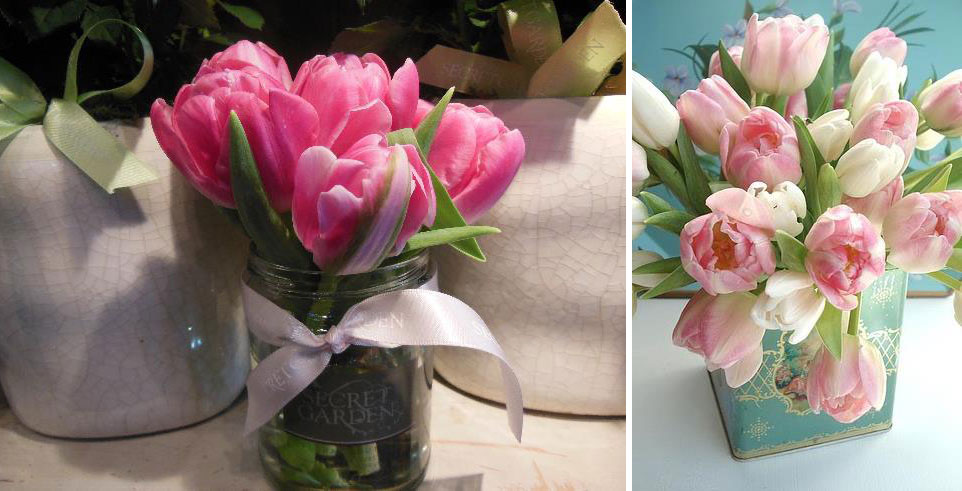 Spring is here Tulip filled jars & antique jugs