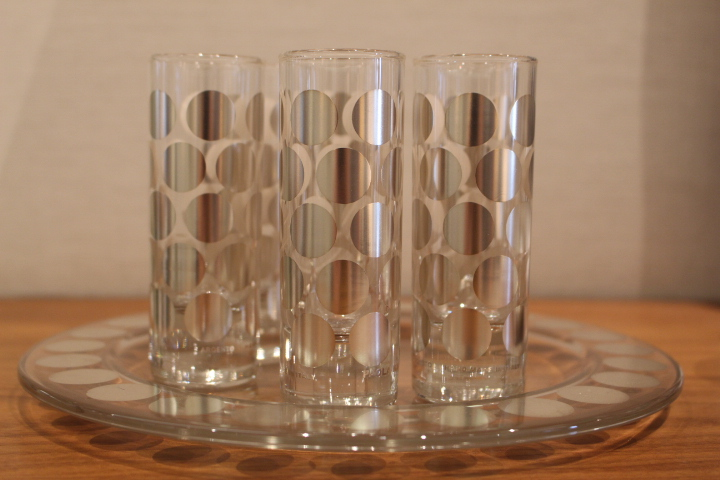 Glasses for all Occasions - Set of 6 screen-printed, silver-plated shot glasses