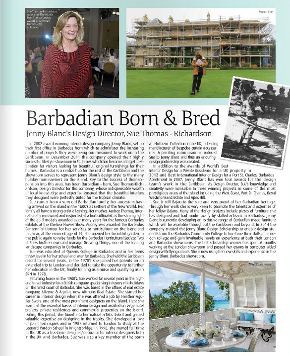 Jenny Blanc Design Director - Living Barbados 2015 Feature