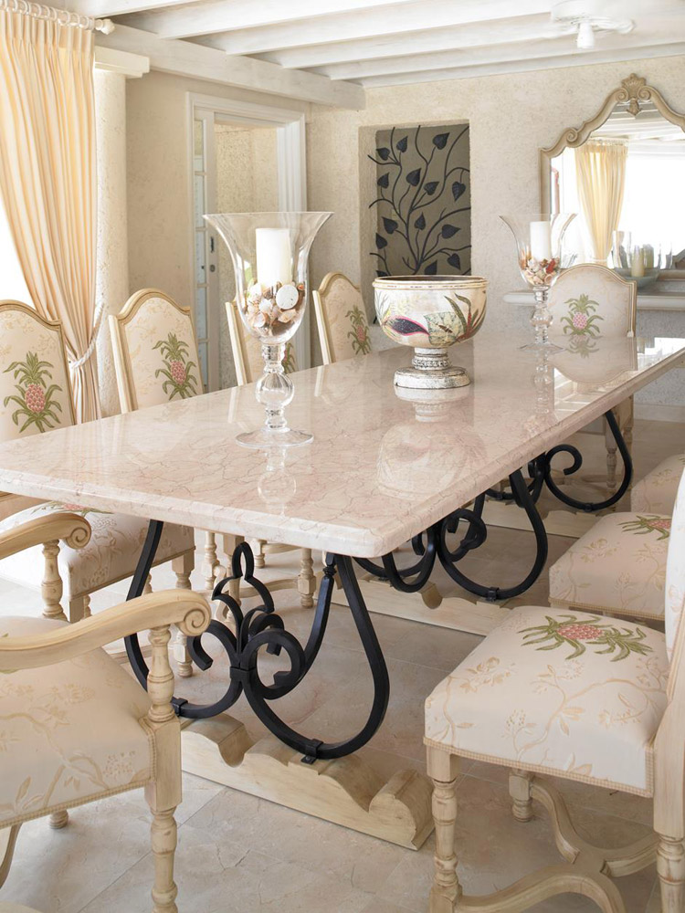 Jenny Blanc Blog - Marble Topped Dining Table with Wrought Iron Legs