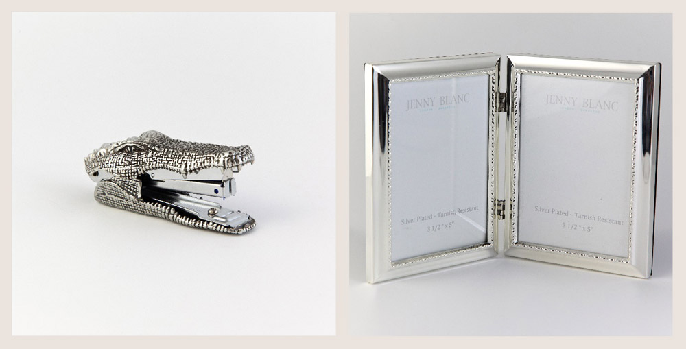 Jenny Blanc Blog - Pewter Crocodile Stapler with Silver Double Photo Frame