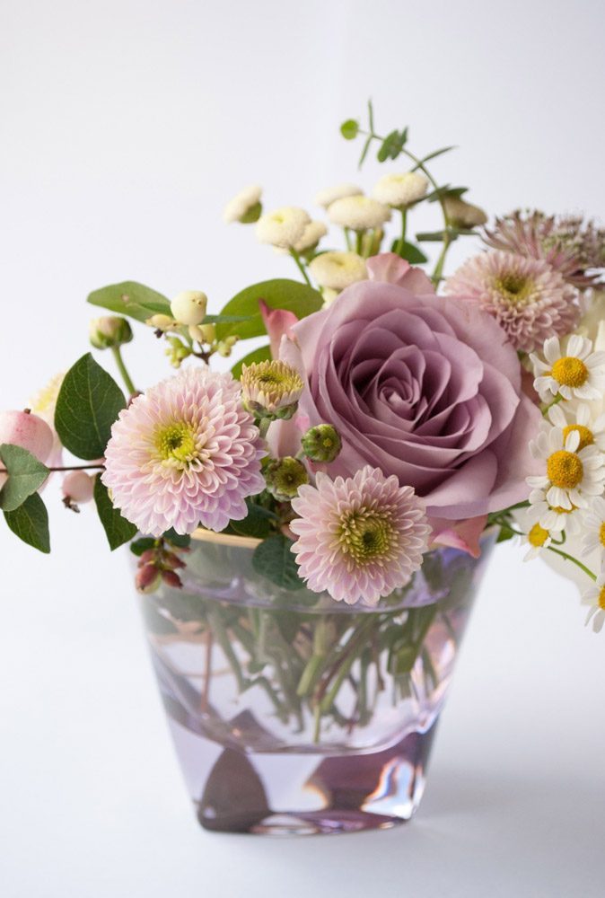 Jenny Blanc Blog - Flowers in Coloured Glass Tumbler