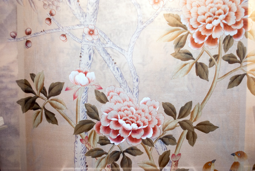 Above: Blossom branches and pink peonies feature in this chinoiserie design hand painted onto silk by de Gournay.