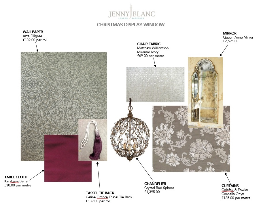 Jenny Blanc Blog - Jennys Scheme Board for Showroom Window Display
