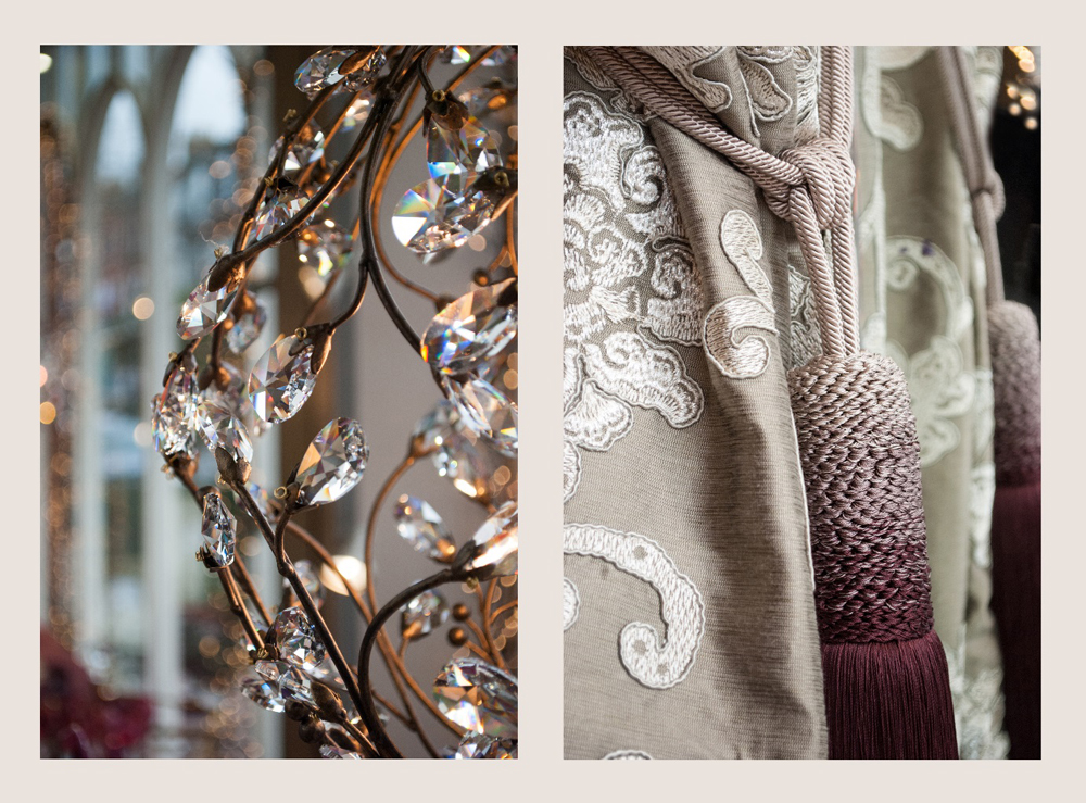 Jenny Blanc Blog - Crystal Chandelier and Embroidered Curtains with Tassel Tie Back