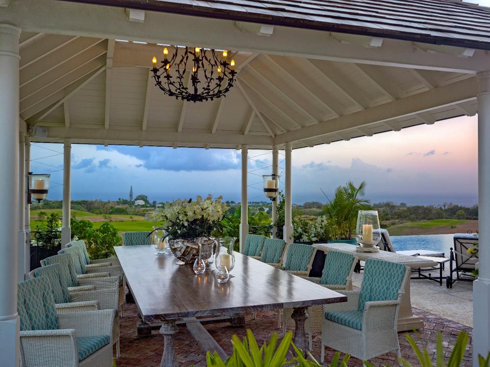 Jenny Blanc Blog - Gazebo Featuring Jenny Blancs Bespoke Dining Table and Coral Stone Console