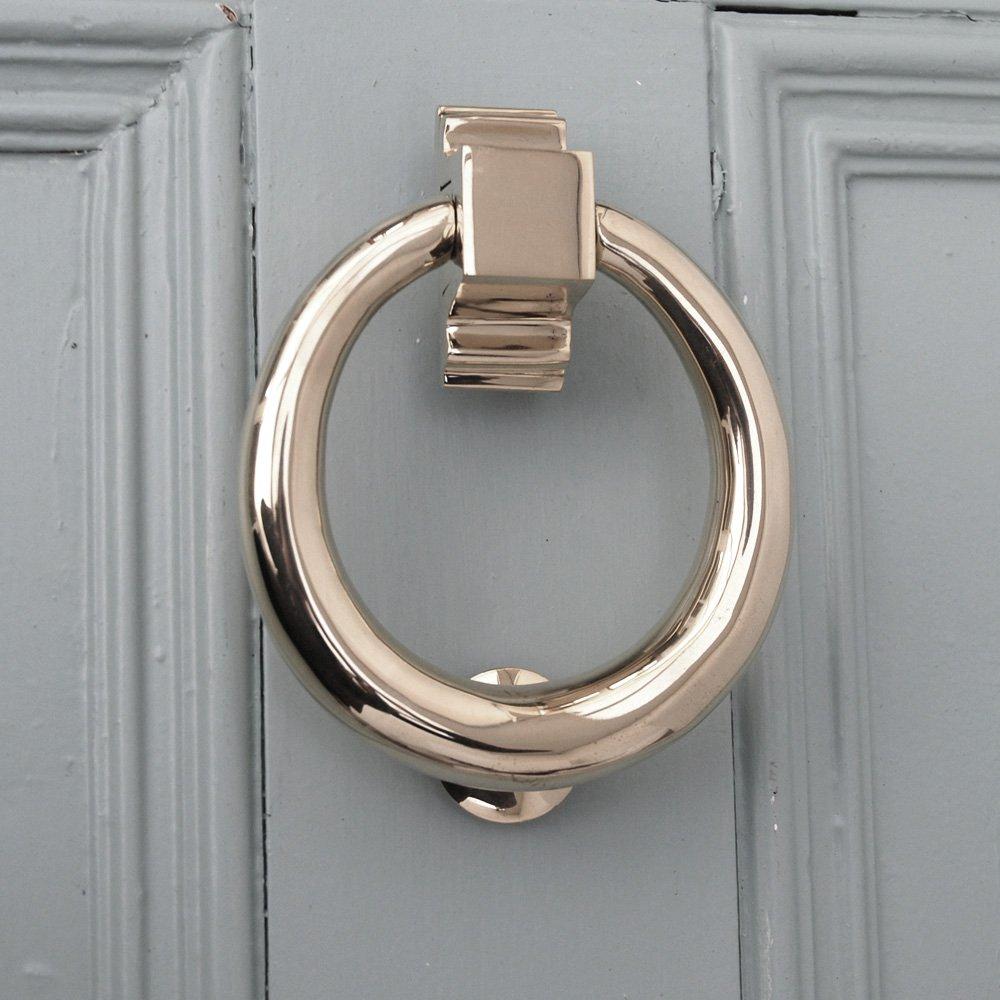 14K White Gold Door Knocker Earrings with Push Back Clasp ... |White Door Knocker