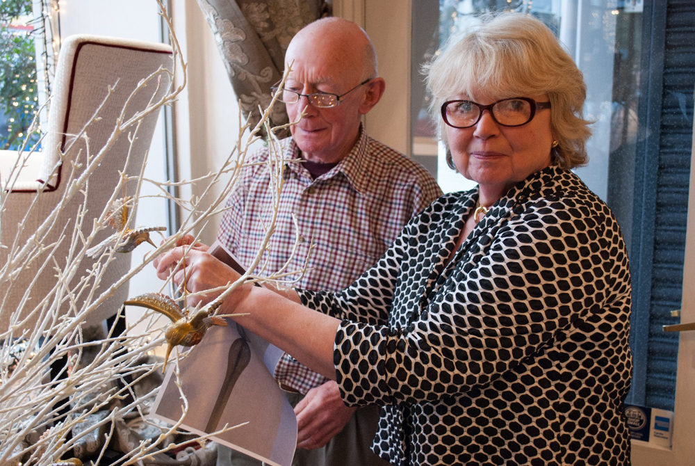 Jenny Blanc Blog - Showroom Director Chrissie with Display Consultant David Dressing the Window