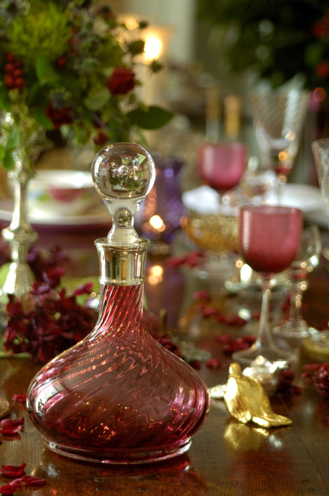 Jenny Blanc Blog - Antique Cranberry Glassware with Decanter