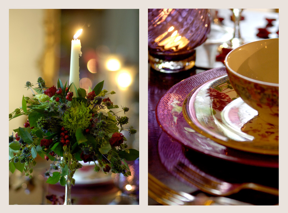 Jenny Blanc Blog - Floral Display with Candle and Antique China Place Setting