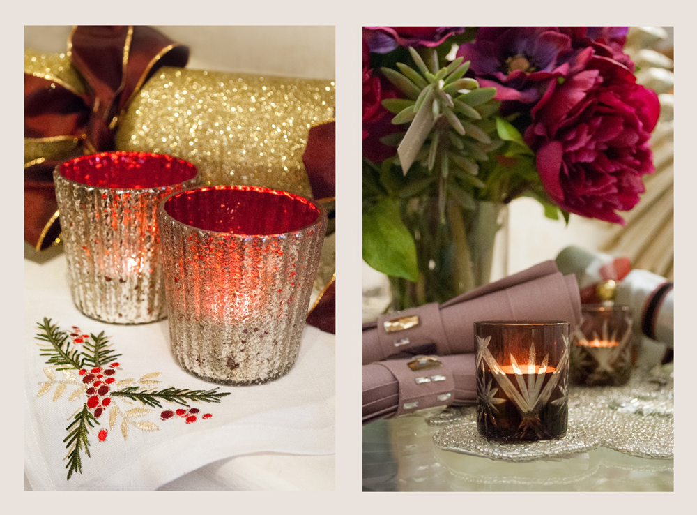Jenny Blanc Blog - Red Silver Votives with Cocktail Napkins and Glass Votives with Beaded Table Runner