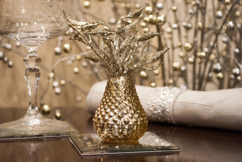 Jenny Blanc Blog - Silvered Glass Bud Vase with Jewelled Linen Napkin and Napkin Ring