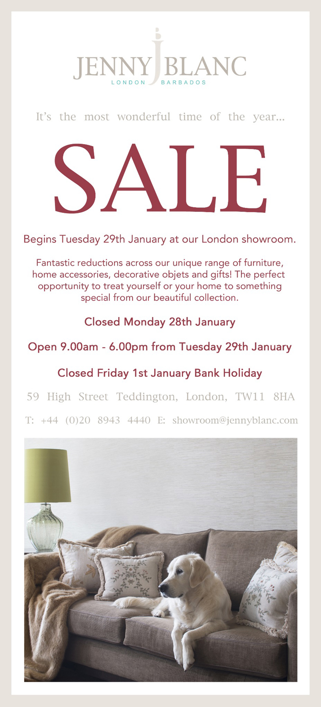 Jenny Blanc Blog - The UK Showroom Sale Begins Tomorrow