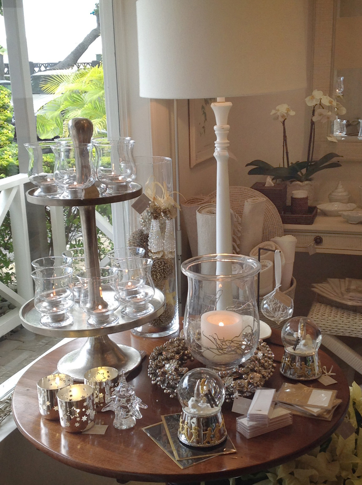 Jenny Blanc Blog - Votives, Glass Hurricanes, Snow Globes with Glass Baubles at Barbados Showroom