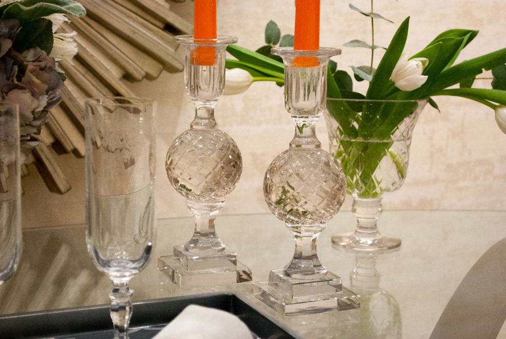 Jenny Blanc Blog - Champagne Flutes and Glass Candle Sticks with Glass Hurricane Vase