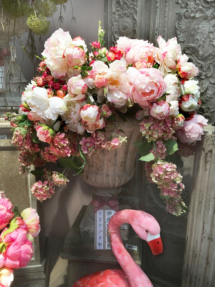 Jenny Blanc Blog - Display of Hydrangeas Peonies and an Urn with a Pink Flamingo
