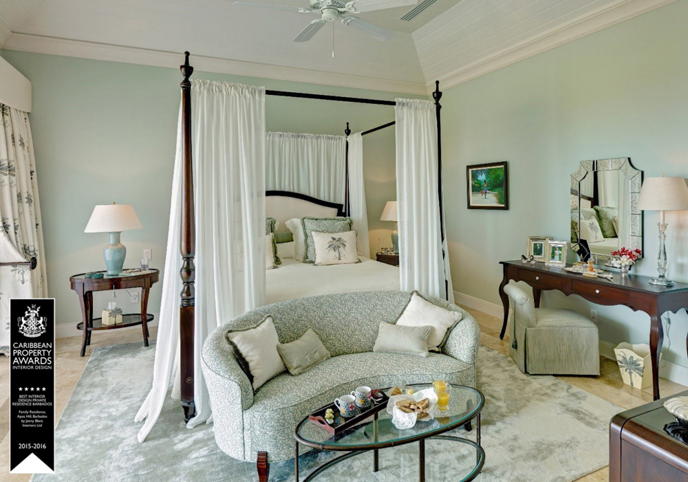 Jenny Blanc Blog - Grand Master Bedroom of Best Interior Design Award Barbados