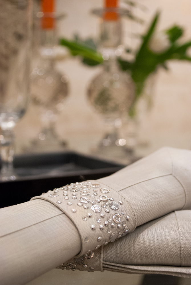 Jenny Blanc Blog - Linen Napkin with Embellished Napkin Ring