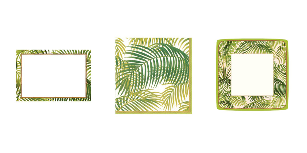 Jenny Blanc Blog - Palm Print Initations Cocktail Napkins and Paper Dinner Plates