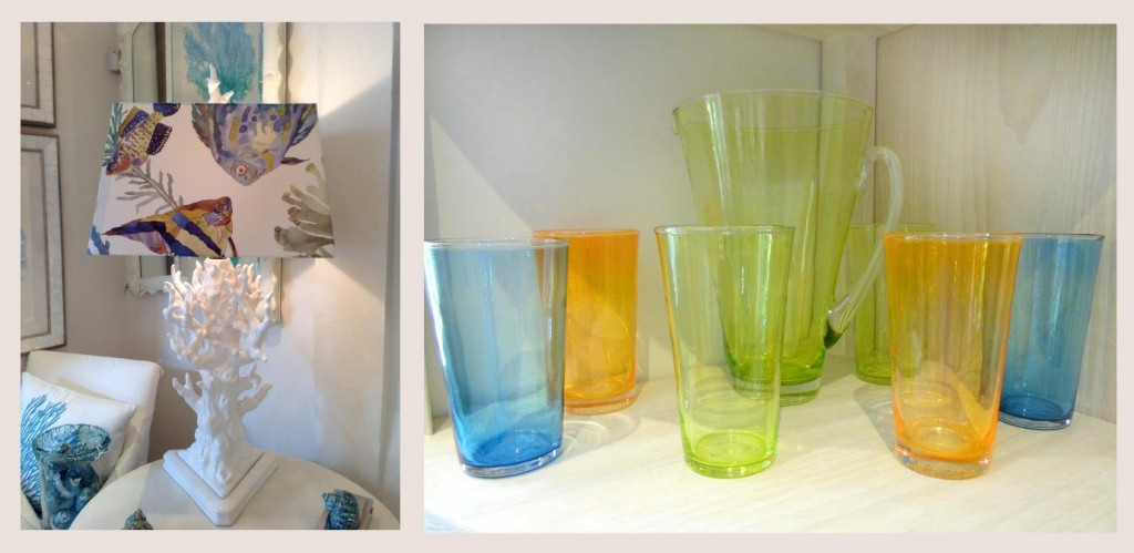 Jenny Blanc Blog - White Coral Lamp with Tropical Fish and Set of Coloured Glass and Matching Pitcher