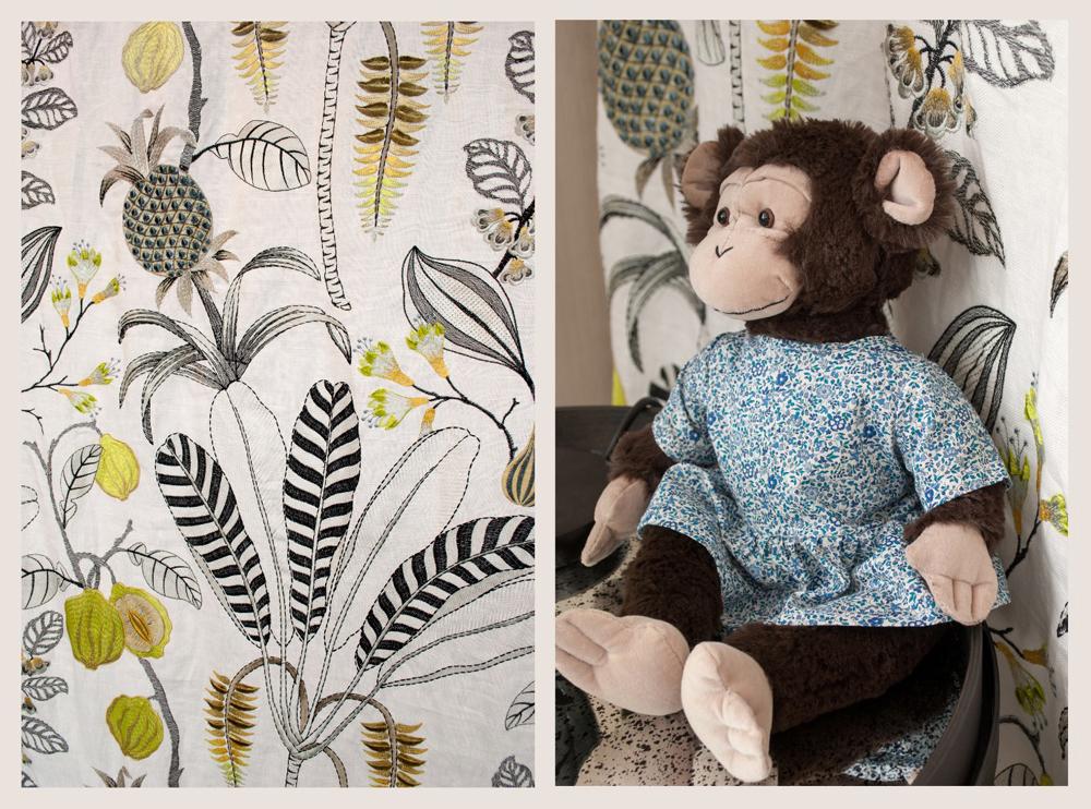 Jenny Blanc Blog - Nobilis Fabric with Signature Jenny Blanc Girl Monkey