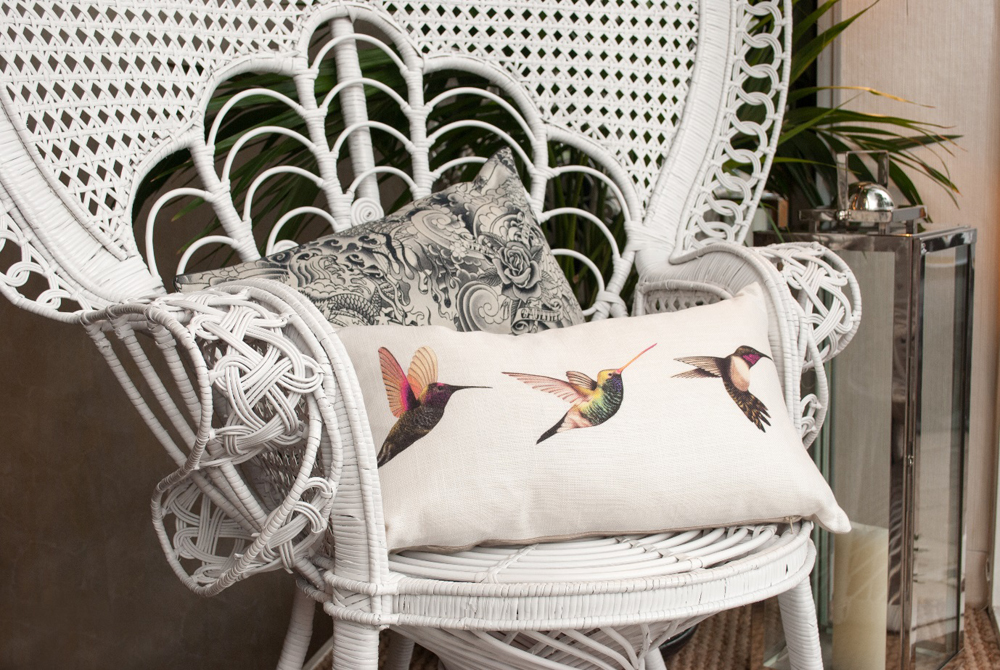 Jenny Blanc Blog - Peacock Chair with Scatter Cushions