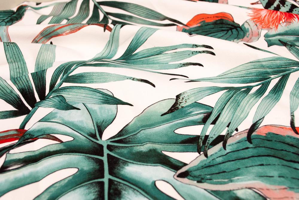 Jenny Blanc Blog - Tropical Leaf Print Fabric of Caribbean Master Bedroom