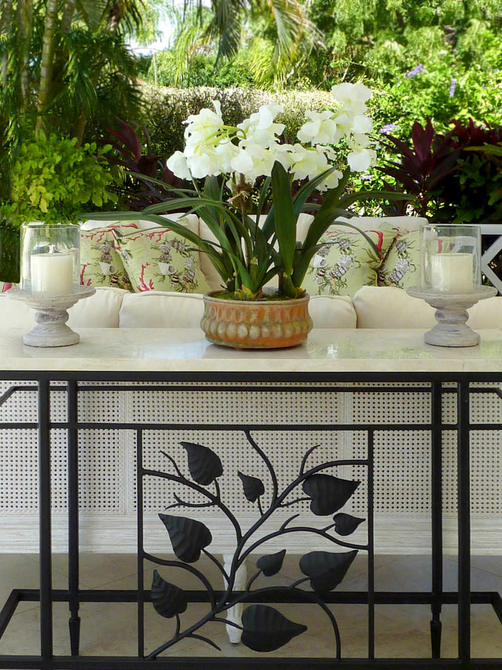 Jenny Blanc Blog - Orchid Arrangement on Wrought Iron Console