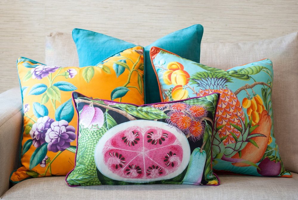 Jenny Blanc Blog - Tropical Cushions Display