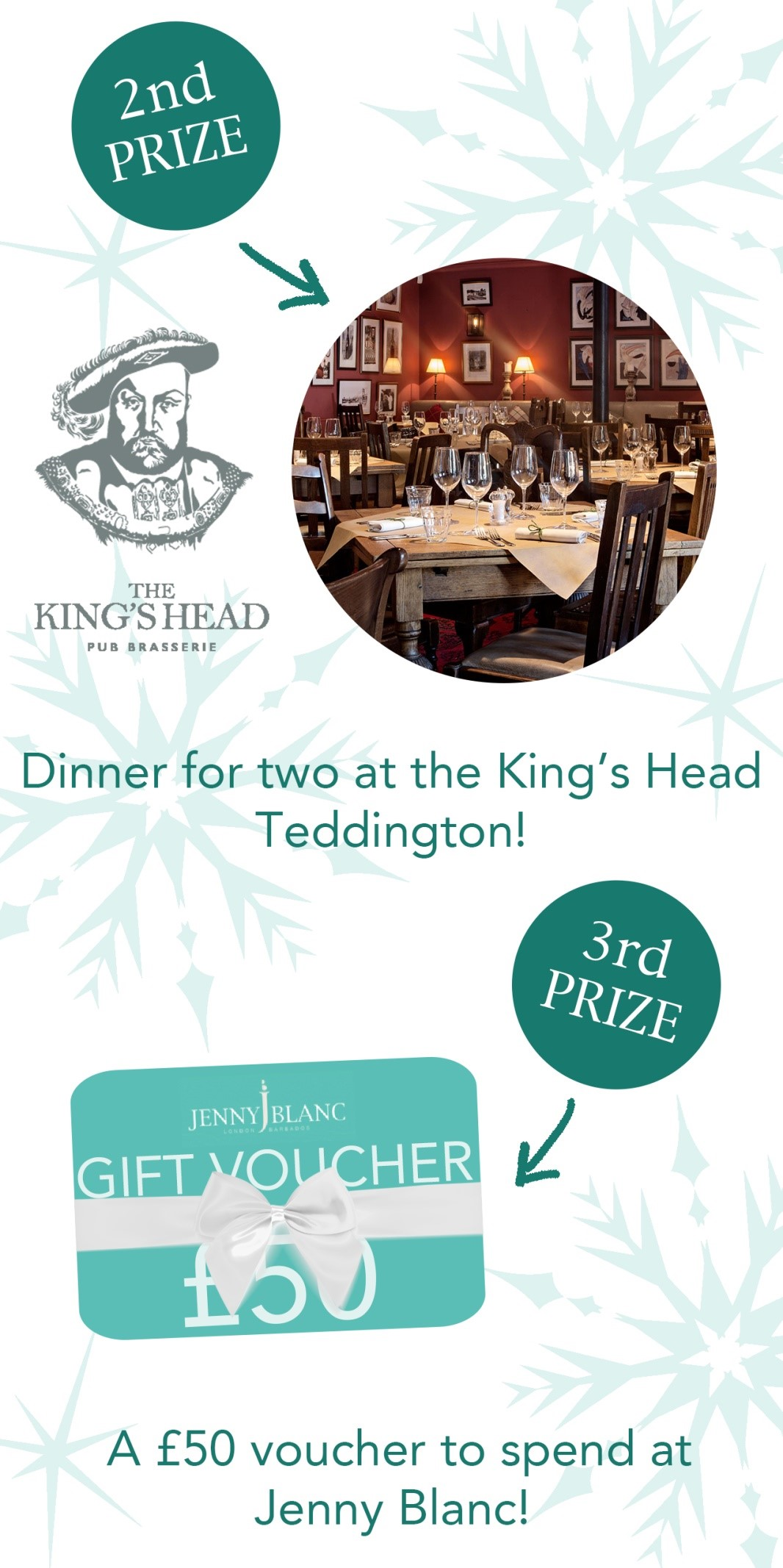 Jenny Blanc Blog - Second & Third Prizes - Teddington King's Head & Gift Voucher 2018